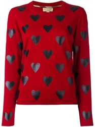 Burberry Heart Print Jumper Red