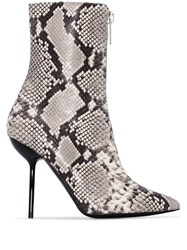 Unravel Project 100Mm Snake Print Ankle Boots Grey