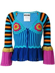 Moschino Bell Sleeve Crochet Panelled Cardigan Blue