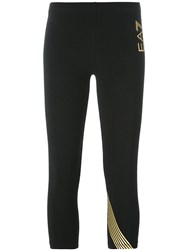 Emporio Armani Ea7 Gold Stripe Cropped Trousers Black
