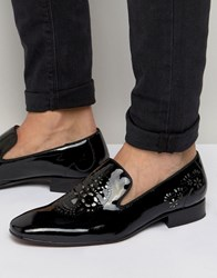 Jeffery West Yung Skull Patent Smart Loafers Black
