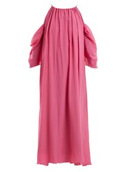 Anna October Cut Out Shoulder Silk Dress Pink