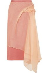 Sies Marjan Nadine Asymmetric Silk Organza And Crepe Midi Skirt Antique Rose