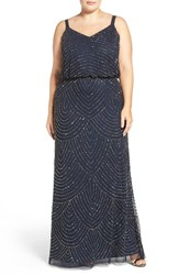 Adrianna Papell Plus Size Women's Beaded Blouson Gown Navy