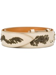 Acne Studios Embroidered Leather Belt Neutrals