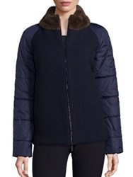 Piazza Sempione Fur Collar Short Wool Puffer Jacket Navy