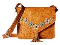 American West Flower Power Flap Crossbody Bag Golden Tan Sky Blue Sand Cross Body Handbags Brown