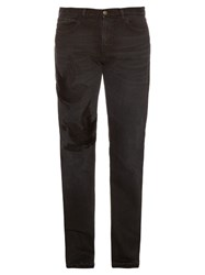 Gucci Hummingbird Applique Straight Leg Jeans Black