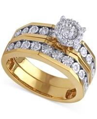 Beautiful Beginnings Diamond Halo Engagement Ring And Wedding Band Set 1 3 Ct. T.W. In 14K Gold And White Gold Two Tone