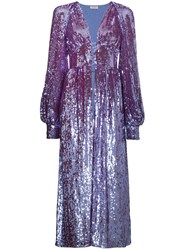 Attico Long Sleeve Sequin Embellished Robe Pink And Purple