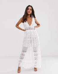 Love Triangle Plunge Front Delicate Lace Maxi Dress In White