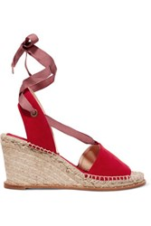 Paloma Barcelo Roxane Suede Espadrille Wedge Sandals Red