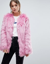 Miss Selfridge Faux Fur Coat Pink