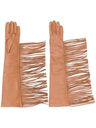 Manokhi Fringed Gloves Brown