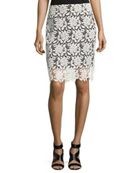 T Tahari Carolina Lace Skirt Black White