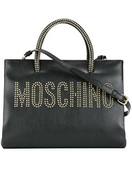 Moschino Stud Embellished Logo Tote Black
