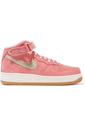 Nike Air Force 1 Leather Trimmed Suede High Top Sneakers Pink
