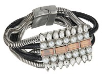 Guess Wide Multi Snake Chain With Stone Accent Magnetic Closure Bracelet Silver Crystal Black Bracelet