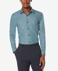 Perry Ellis Men's Big And Tall Non Iron Long Sleeve Shirt Blue Pond