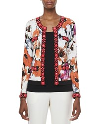 Michael Simon Printed Cardigan With Beading Petite