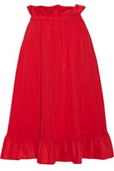 Paskal Ruffle Trimmed Brushed Twill Skirt Red