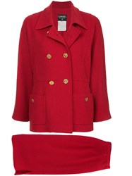 Chanel Vintage Double Breasted Skirt Suit Red