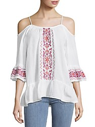 Beach Lunch Lounge Embroidered Cotton Cold Shoulder Top White