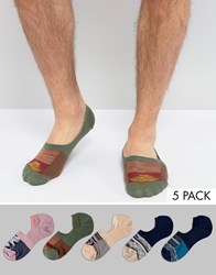 Asos Invisible Socks With Aztec Design 5 Pack Multi