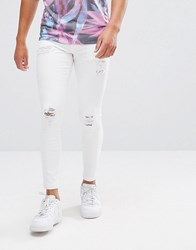 11 Degrees Muscle Fit Jeans In White With Distressing