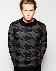 Anerkjendt Jumper In Houndstooth Grey