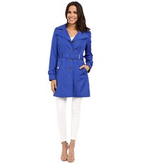Calvin Klein Single Breasted Hooded Belted Trench W Printed Liner Royal Blue Women's Coat