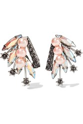 Elizabeth Cole Halley Gold Plated Swarovski Crystal And Faux Pearl Earrings Black