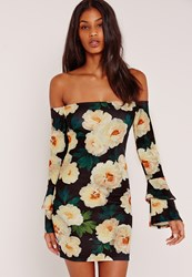 Missguided Floral Print Bardot Frill Sleeve Bodycon Dress Black Black