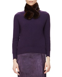 Carolina Herrera Ribbed Cashmere Sweater W Removable Fur Collar Currant
