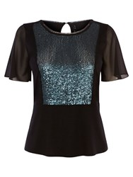 Karen Millen Sequin Panel T Shirt Black Multi