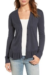 Hinge Women's Ruffle Hem Cardigan Navy India Ink