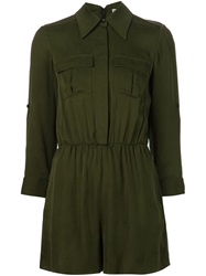 Alice Olivia Alice Olivia Military Style Shirt Dress Green
