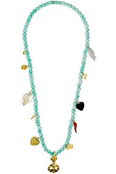 Carolina Bucci Recharmed Ancora 18 Karat Gold Multi Stone Necklace Turquoise