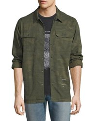 Ovadia And Sons Distressed Military Overshirt Olive Camo