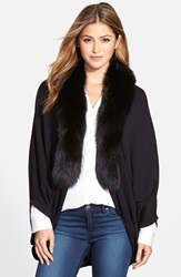 La Fiorentina Wool Cocoon Cardigan With Genuine Fox Fur Collar Black