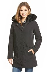 Women's Marc New York 'Delaney' Faux Fur Trim A Line Parka Black