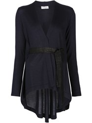 Brunello Cucinelli Asymmetric Belted Cardigan Blue