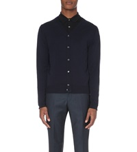 John Smedley Merino Wool Button Up Cardigan Midnight
