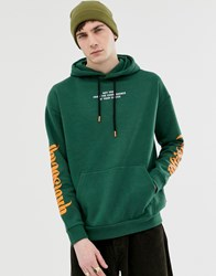 Your Turn Yourturn Hoodie In Green With Chest And Sleeve Print