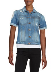 Design Lab Lord And Taylor Short Sleeve Denim Jacket Indigo
