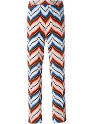 Kenzo Chevron Straight Leg Trousers Red