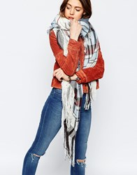 Asos Oversized Lightweight Check And Fringe Scarf White