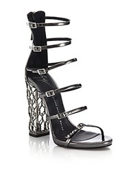Giuseppe Zanotti Metal Cage Heel Strappy Leather Sandals Anthracite