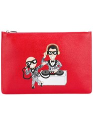 Dolce And Gabbana Musical Designer Patch Clutch Red
