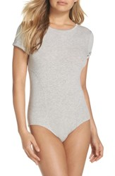 Felina Women's Short Sleeve Bodysuit Heather Grey